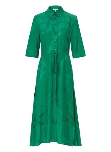 Ipekyol Zincir Desenli Gömlek Elbise Yeşil